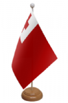 Tonga Desk / Table Flag with wooden stand and base